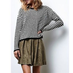 Honey Punch Suede Mini Skirt Pleated Olive Green